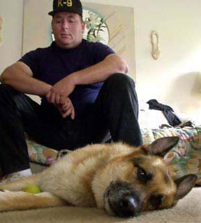 """He kind of withdrew from everything.  There was so much death there, it was emotional for the dogs."" — Mike Owens, Southwestern Ohio K-9 Search and Rescue, speaking about his partner Worf (Photo: (Michael Snyder / Cincinati Enquirer)"