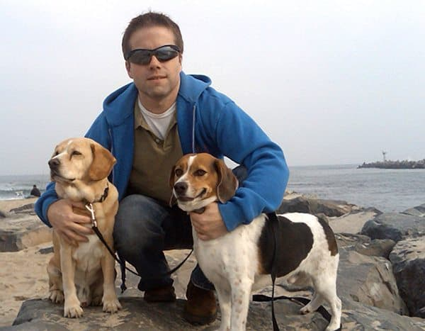 Patrick Kelley with his two dogs, Sunny and Buddy, right, at Manasquan Inlet before Buddy ran away.