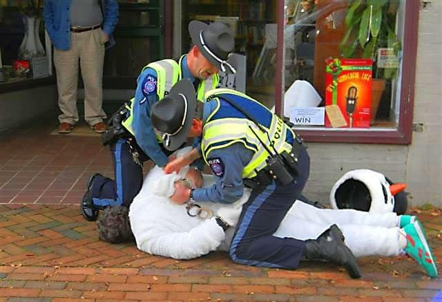 Frosty The Snowman Arrested For Assaulting Police Dog
